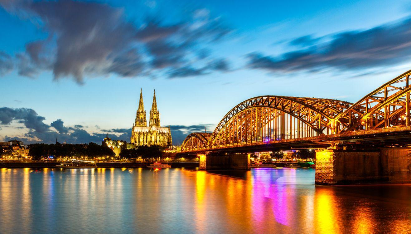 Фото бесплатно Кёльн, Германия, панорама, город, иллюминация, город