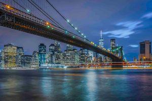Бесплатные фото НЬЮ-ЙОРК,Бруклинский мост,Ист-Ривер,ночь,сумерки,город,ночные города