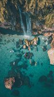 Фото бесплатно скалы, водопад, синее море, Andalucia, Нерха, байдарки, рок, море
