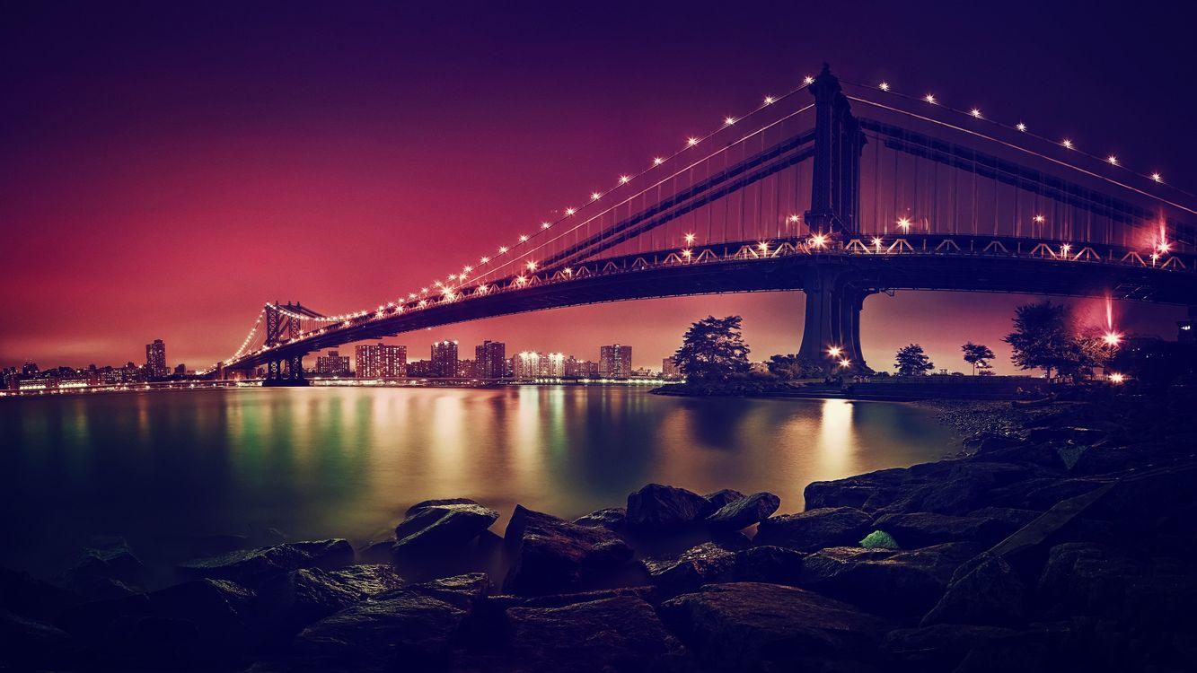 Ночной мост в огнях · бесплатное фото