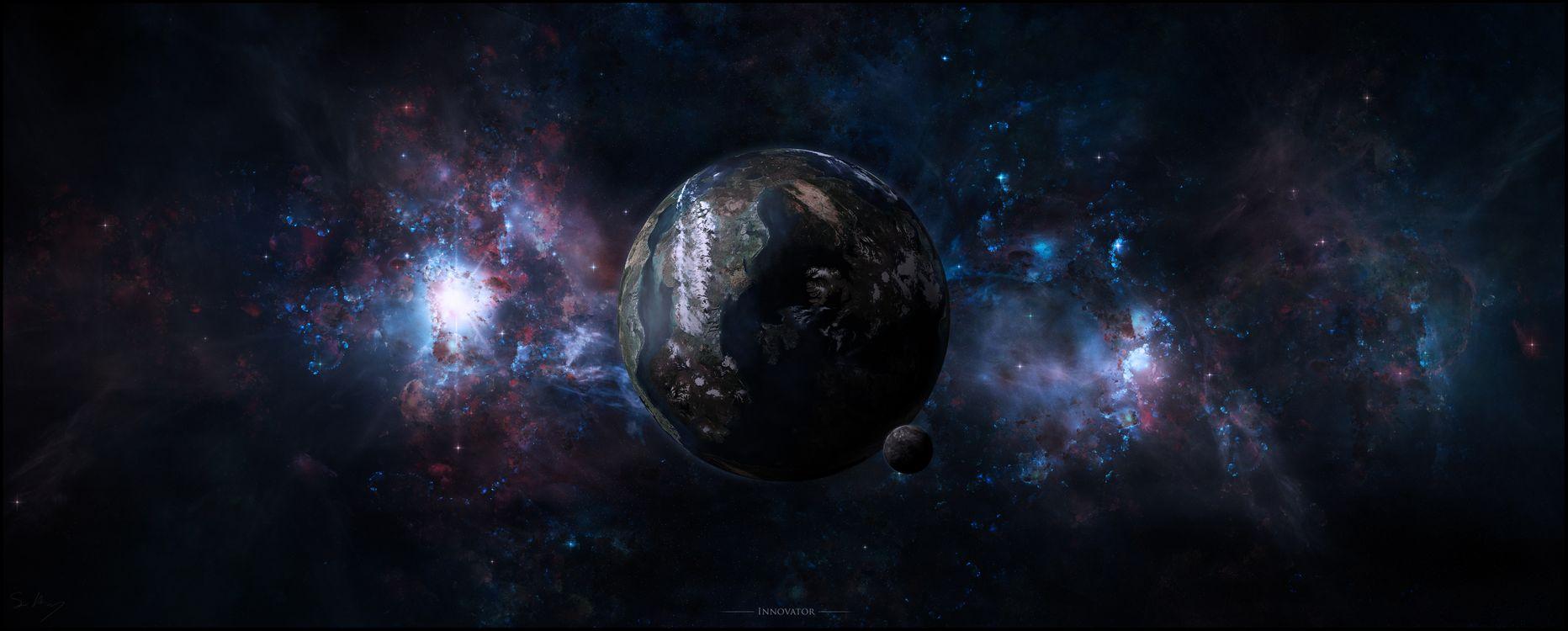 Обои галактика, горы, планета картинки на телефон