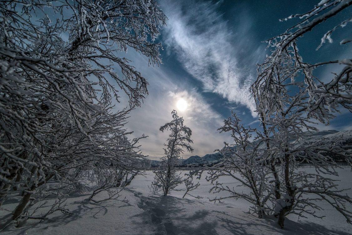 Фото бесплатно снег, ночь, горы - на рабочий стол