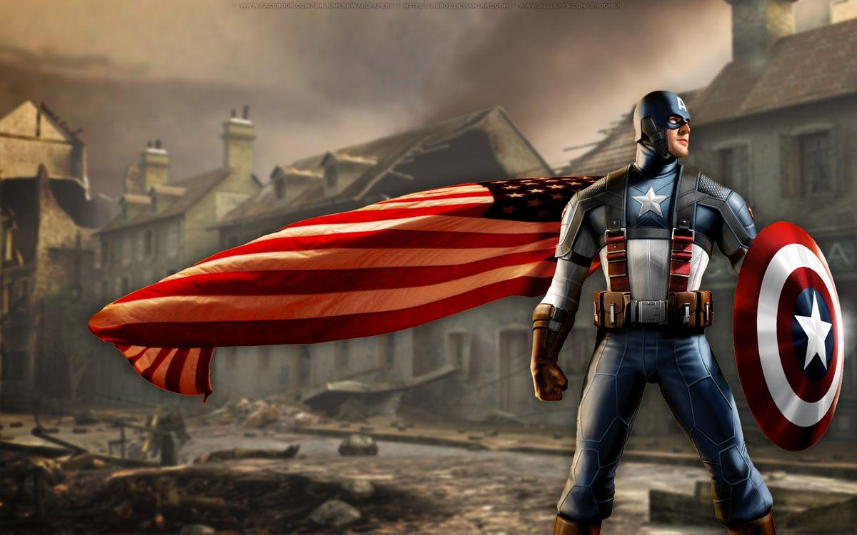 Капитан Америка и плащ в виде американского флага · бесплатное фото