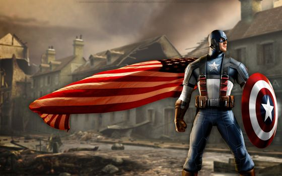 Captain America and the Cape of the American flag · free photo
