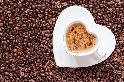 Фото бесплатно кофе, зерна, форма сердечка