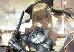Фото бесплатно судьба великого ордена, сабля Лили, блондинка, доспехи, меч, лента, зеленые глаза