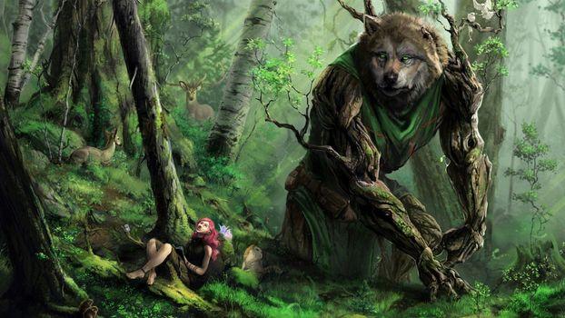 Фото бесплатно гигантский волк, деревянный волк, девушка