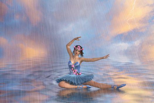 Фото бесплатно танцовщица, балерина, вода, дождь, танец, art