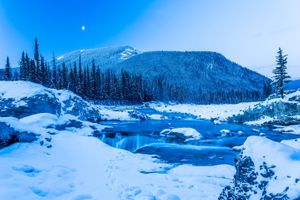 Photo free Winter in Kananaskis, snow and ice, Elbow Falls