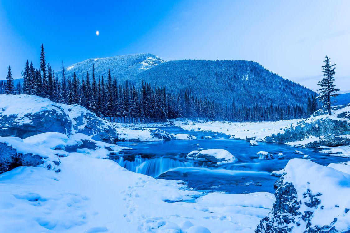 Фото Зима в Кананаскисе снег и лед Elbow Falls - бесплатные картинки на Fonwall
