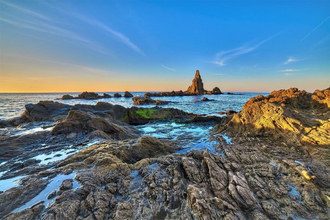 Фото бесплатно КАБО ДЕ ГАТА, ALMERIA, ANDALUCIA, Испания, Европа, море, океан, скалы, берег, закат, пейзаж, пейзажи