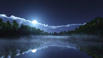 Заставки Ночь, природа, отражение