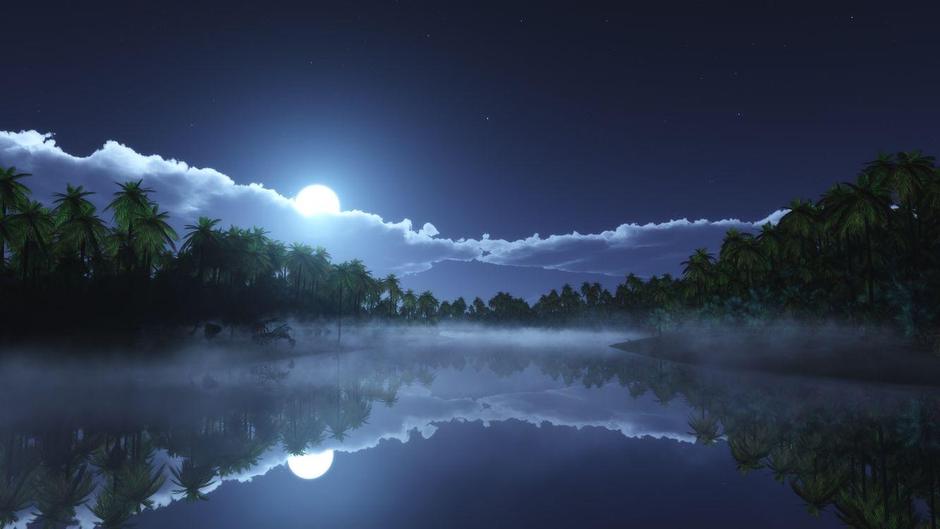 Фото бесплатно Ночь, природа, отражение - на рабочий стол