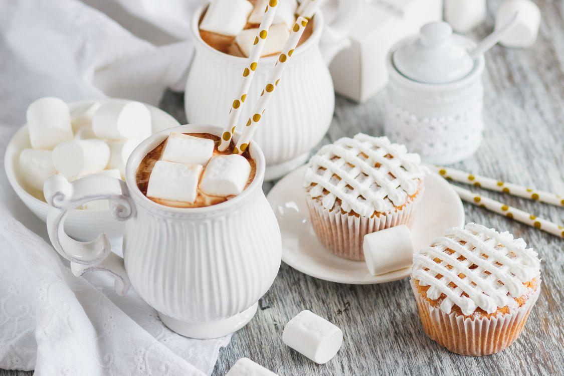 Фото бесплатно выпечка, кекс, кофе, зефир, еда
