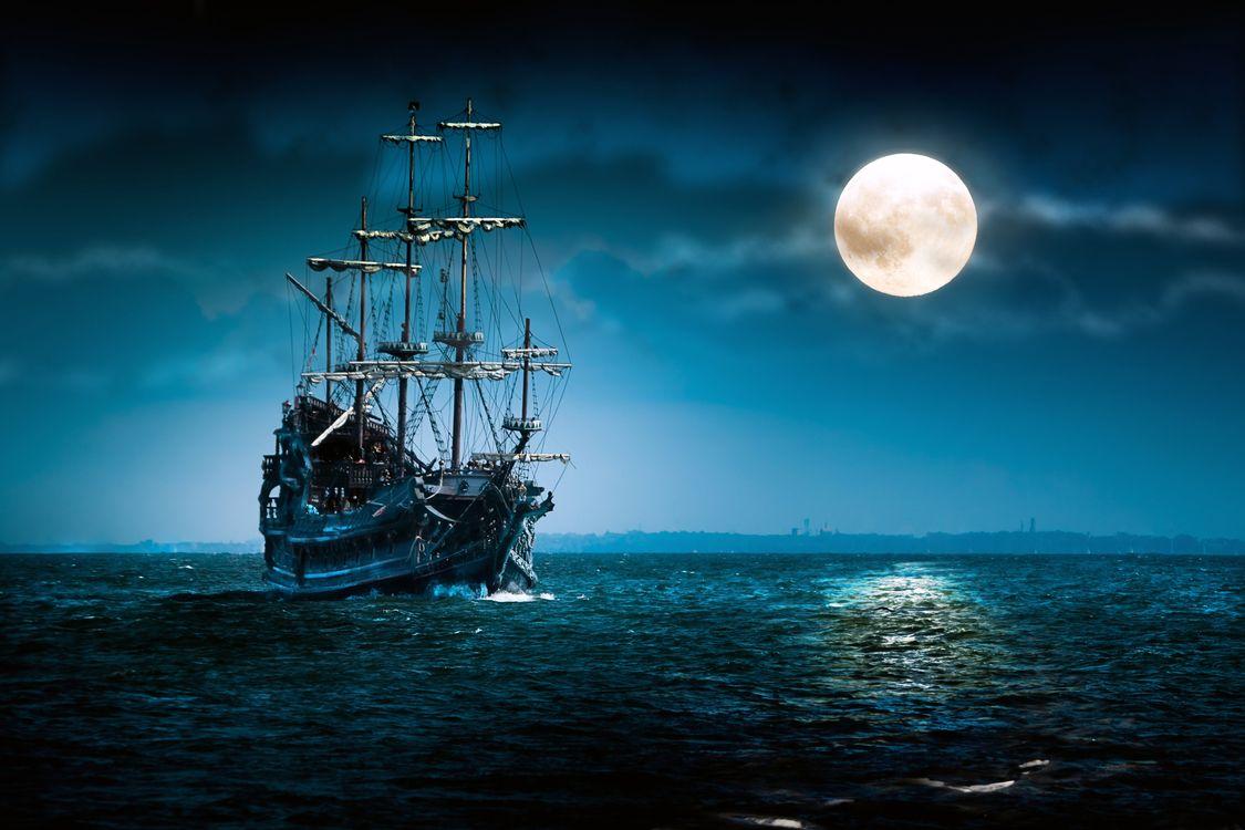 Обои лодка, океан, произведение искусства картинки на телефон