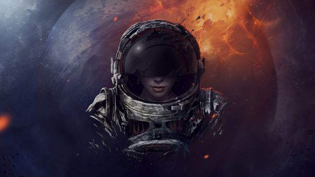 Photo free astronaut, girl, helmet