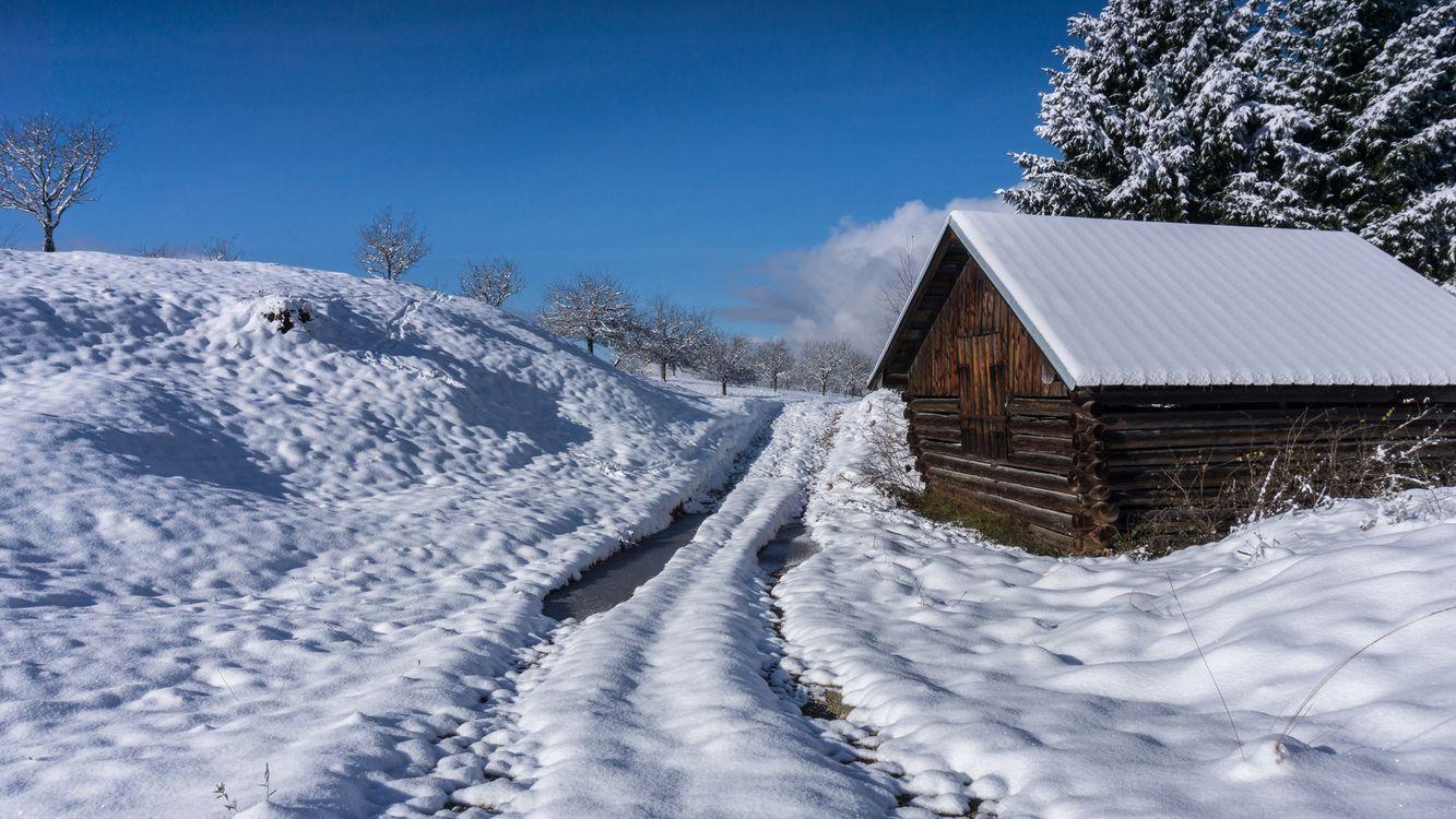 Фото бесплатно Озеро Герольдзее, Германия, Geroldsee, Южный Тироль, Альпы, Гармиш, Партенкирхен, сельская местность, Bavaria, Бавария, горы, зима, домик, пейзаж, пейзажи