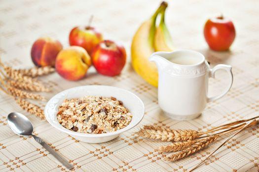 Photo free breakfast, muesli, apples
