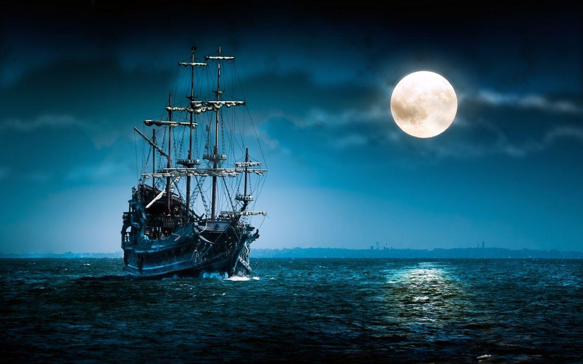 Фото бесплатно лодка, настроение, луна, ночь, океан, парусник, море, корабль, корабли - скачать на рабочий стол