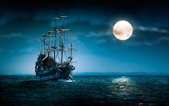 Фото бесплатно лодка, настроение, луна, ночь, океан, парусник, море, корабль
