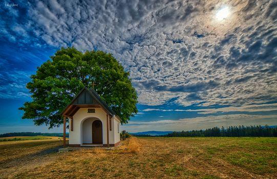 Фото бесплатно поле, часовня, небо