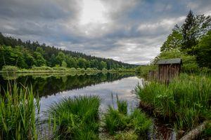 Бесплатные фото Bavaria,Germany,Deininger Weiher,озеро,деревья,закат,облака