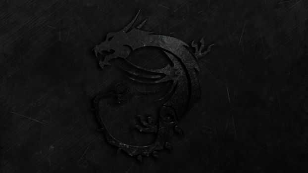 Photo free dragon, black, on a dark background