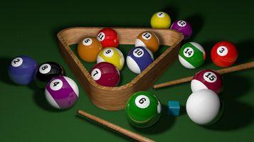 Фото бесплатно бильярд, игры, 3d, шаров, играть, снукер