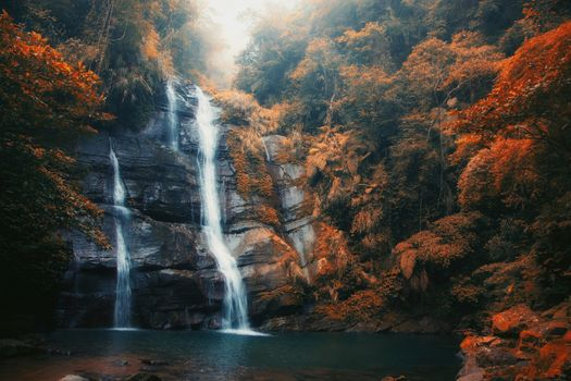 Photo free waterfall, pond, autumn