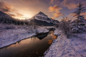 Фото бесплатно река, снег, закат