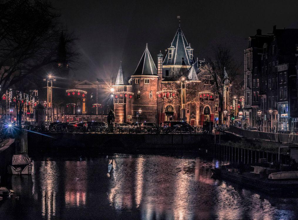 Фото бесплатно ночной город, город, амстердам - на рабочий стол