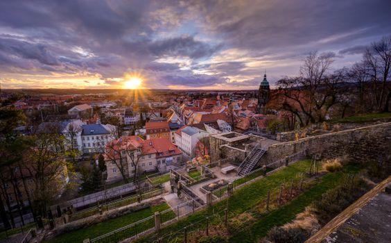 Бесплатные фото Пирна,Саксония,Германия,закат,город