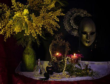 Фото бесплатно свечи, ваза, бусы