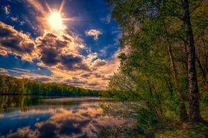 Заставки закат, природа, озеро