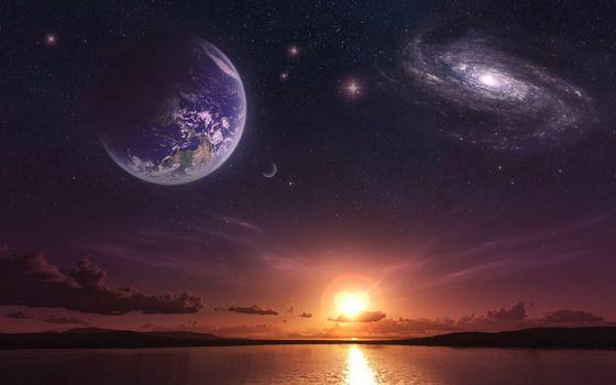 Бесплатные фото море,закат,планеты,свечение,космос,небо