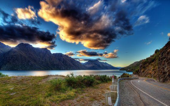 Заставки горная местность, дорога, облака