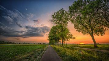 Бесплатные фото закат,поле,дорога,деревья,небо,месяц,облака