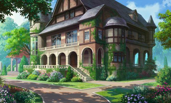 Фото бесплатно дом аниме, живописный, лес