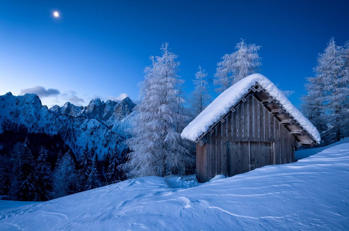 Фото бесплатно хижина, зима, снег, гора, пейзаж, пейзажи