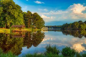 Заставки озеро банн,размышления,пирс,док,boathouse,пейзаж,живописный
