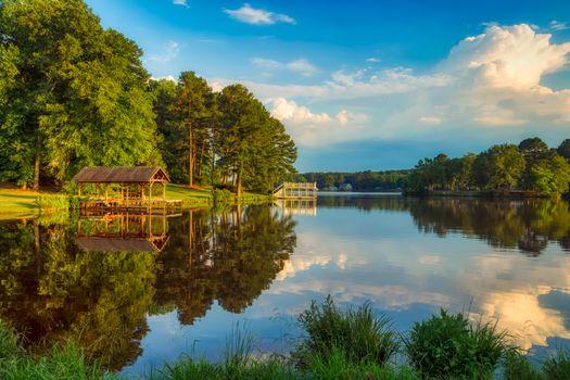 Фото бесплатно озеро банн, размышления, пирс