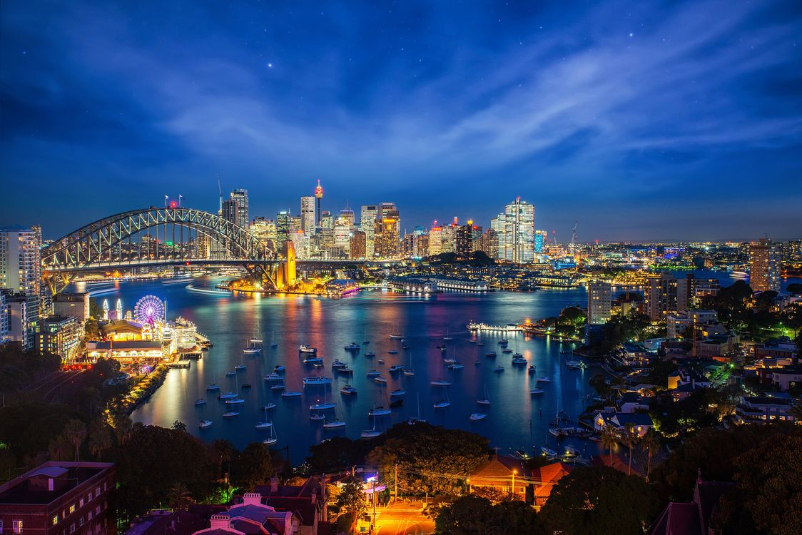 Фото Sydney city ночные города Australia - бесплатные картинки на Fonwall