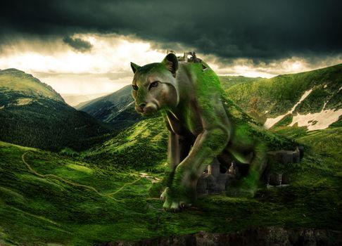 Фото бесплатно замок, город, ягуар