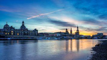 Заставки Дрезден, Германия, закат