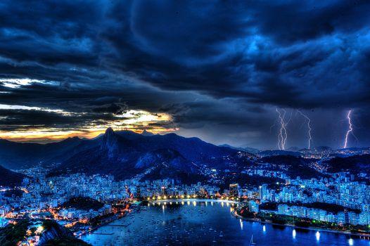 Фото бесплатно пейзаж, шторм, молния