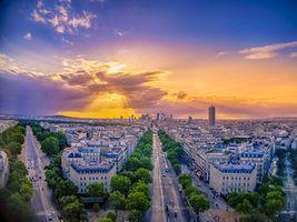 Фото бесплатно город, Eiffel tower, закат