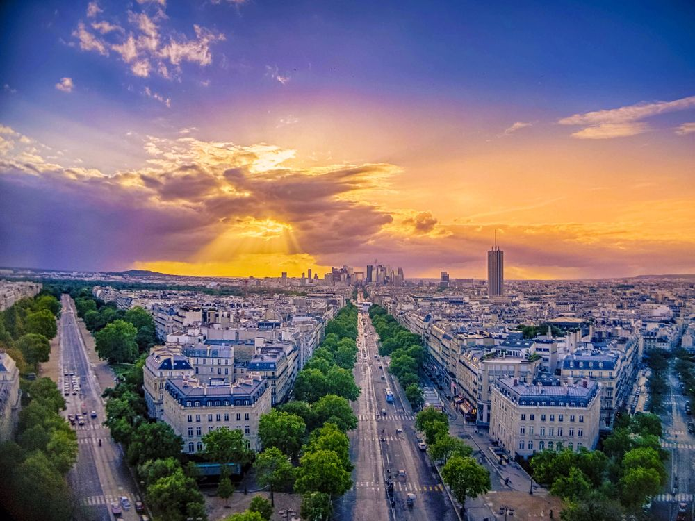 Обои город, Eiffel tower, закат картинки на телефон