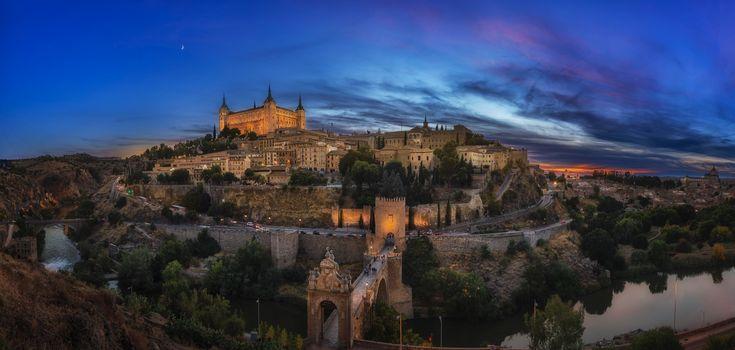 Бесплатные фото Toledo,Испания,дворец,холм,гора,возвышенность,ночь,город,панорама