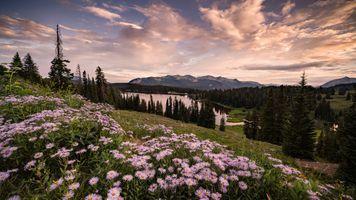 Фото бесплатно Закат в Крестед-Батт, штат Колорадо, озеро