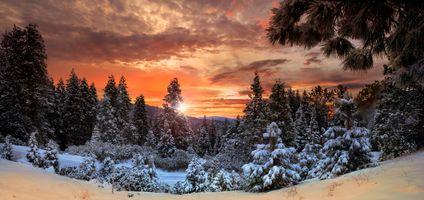 Заставки панорама, пейзаж, снег